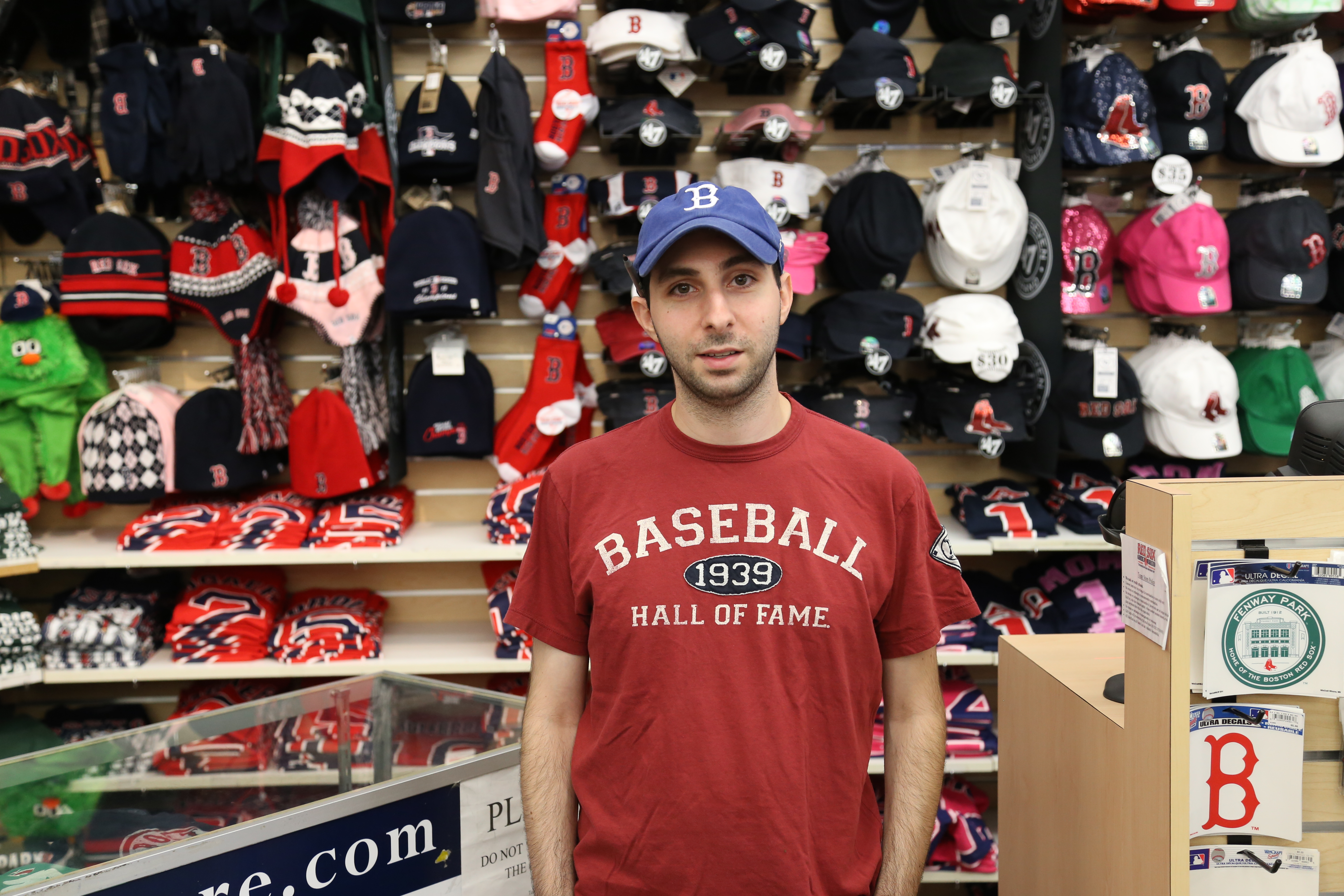 Ian Cline, an employee at the Redsox team store, said sales go up when the Yankees are in town.