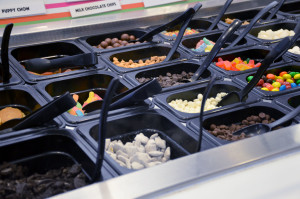 Yogurt toppings at Chilly Billy's include puppy chow, gummy worms and marshmallows.
