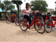 Genesis Rodriguez hops on a Capital Bikeshare Bike to take a quick tour of the National Mall (Photo: Graham Swaney)